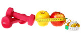 Fitness equipment ,dumbbell, apple