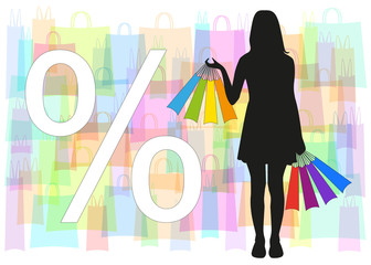 Silhouette of the girl with bags in hands and sign discounts