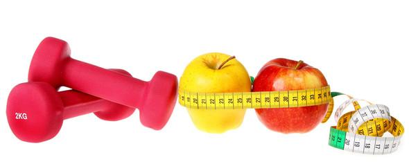 Fitness equipment ,dumbbell, apple