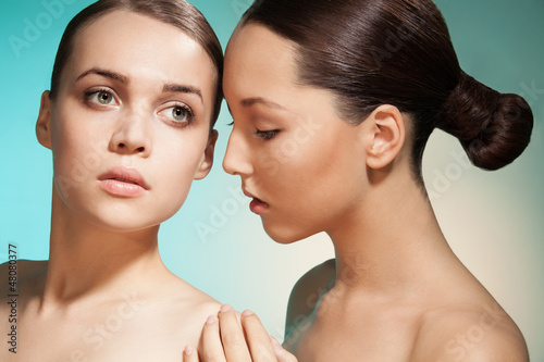 Sensual beauty portrait of two women
