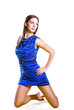 Beautiful model in cute blue dress