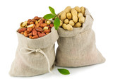 Sacks of peanut with green leaves