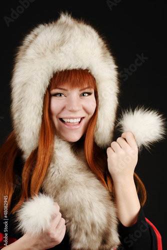 happy girl in fur
