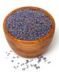 lavender petals in a wooden bowl