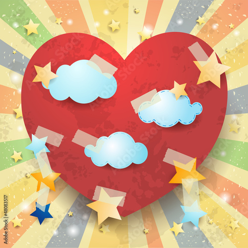 Red heart, vintage background