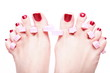 female feet red polished nails