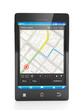Mobile Navigator. Mobile phone close-up navigation map on a whit