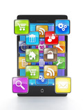 Download apps for your mobile phone. Mobile phone and a group of