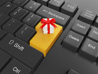 Computer technology. Keyboard with a gift Enter key to send a gi