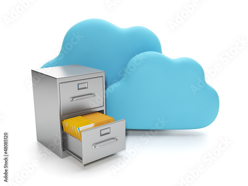 Cloud computing, data storage on servers. Box with documents and
