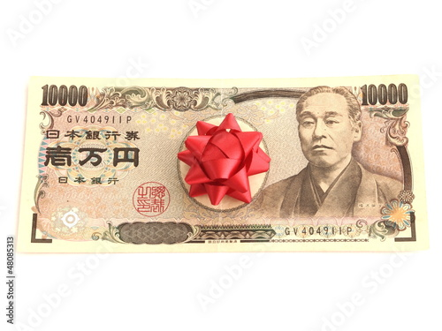 Japanese YEN note with ribbon
