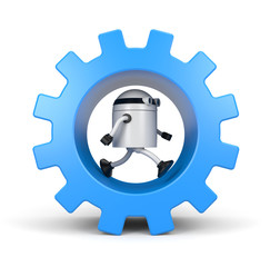 Robot leaning on a gear