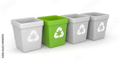 Colored recycling bins