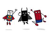 3 super héros qui sautent
