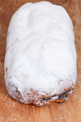 Stollen cake with dried fruit and marzipan