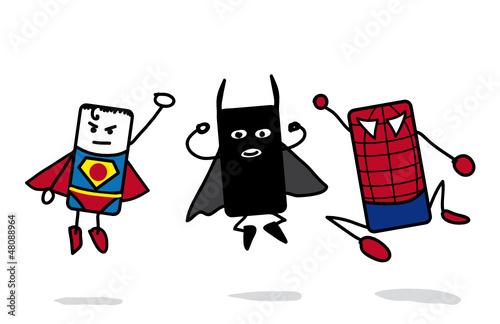 3 super héros qui sautent - 48088964