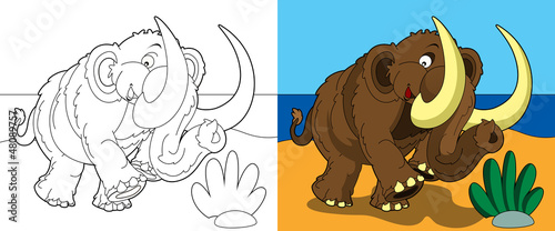 Poster Doe het zelf The coloring page - happy mammoth