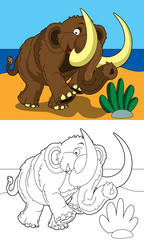 The coloring page - happy mammoth