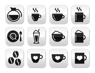 Coffee buttons set - vector