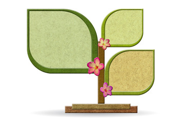 Sign board made from recycled wood stick with flowers