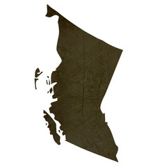 Dark silhouetted map of British Columbia