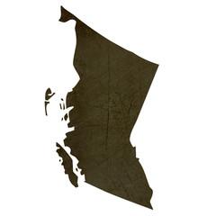 Dark silhouetted map of British Columbia