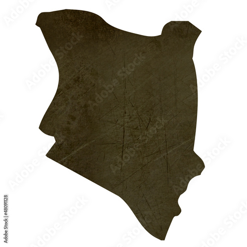 Dark silhouetted map of Kenya