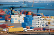 truck transport container to warehouse near sea