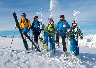 Group of happy skiers