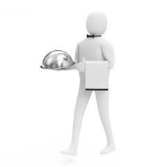 3d Man Waiter with Silver Tray on white background