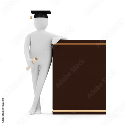 3d Man with Graduation Cap, Diploma and Book on white background