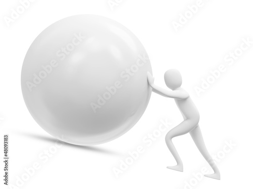 3d Man Pushing a Sphere isolated on white background