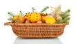 christmas composition in basket with oranges and fir tree,