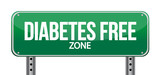 Diabetes Free Zone Green Road Sign