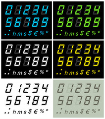 LCD numbers 2 multi-colors version