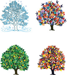 Four seasons – trees in spring, summer, autumn, winter
