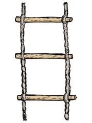 hand drawn, vector, sketch illustration of rope-ladder