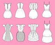 Vector illustration of women's romantic dresses