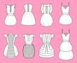 Vector illustration of women's romantic dresses