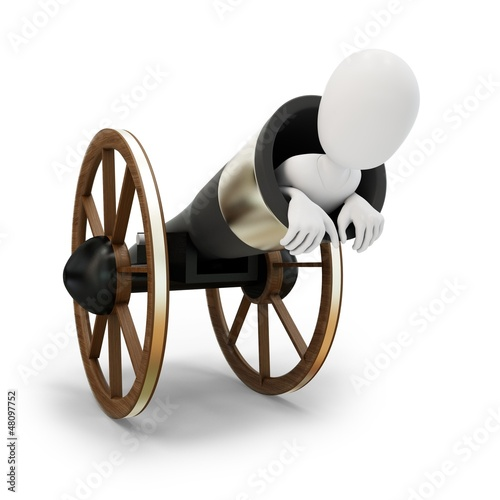 3d man with circus cannonball