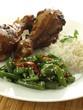 Chicken drumsticks, rice, beans