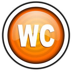 wc orange glossy icon isolated on white background