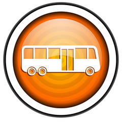bus orange glossy icon isolated on white background