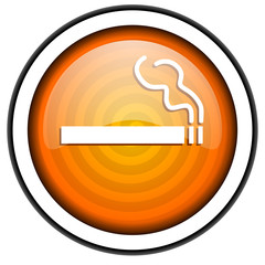 smoking orange glossy icon isolated on white background