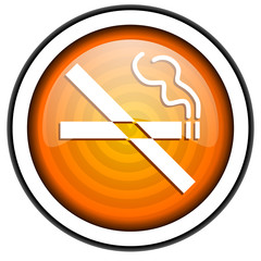 no smoking orange glossy icon isolated on white background