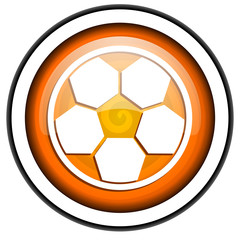 soccer orange glossy icon isolated on white background