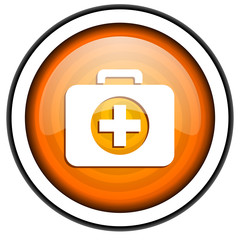 first aid kit orange glossy icon isolated on white background