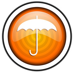 umbrella orange glossy icon isolated on white background