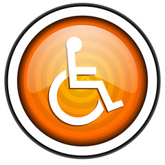 accessibility orange glossy icon isolated on white background