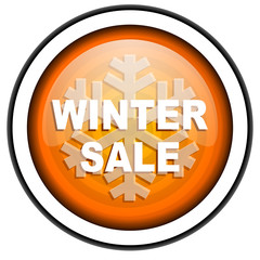 winter sale orange glossy icon isolated on white background